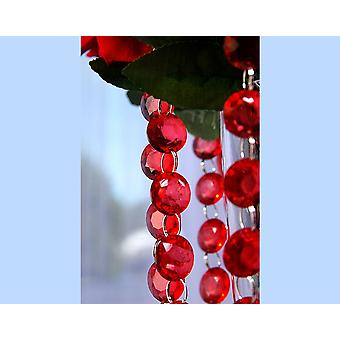 1m Red 18mm Round Acrylic Crystal Bead Garland for Decorations