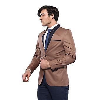 Mandarin collar light brown jacket | wessi