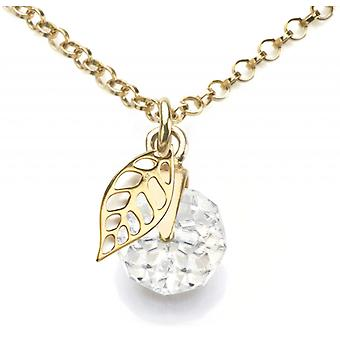 Ah! Jewellery 8mm Clear Briolette Crystals from Swarovski Pendant Necklace With Open Work Leaf. 24K Gold Vermeil Over Sterling Silver, Stamped 925.