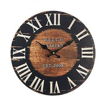 Rebecca Furniture Wall Clock Hanging Watches Wood Industrial 33.8x33.8x4