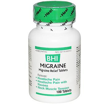MediNatura, BHI, Migraine Relief, 100 Tablets