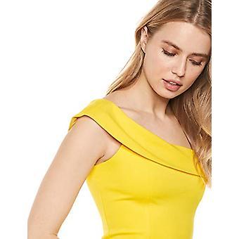 Lark & Ro Frauen's asymmetrische Flounce Ausschnitt Mantel Kleid, Herzogin gelb, 8
