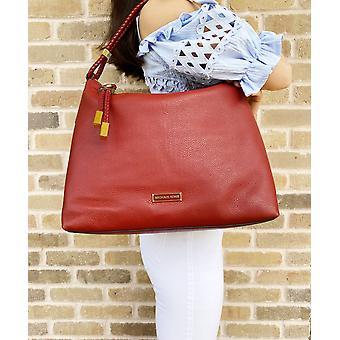 Michael kors lexington large shoulder bag hobo brandy red braided strap