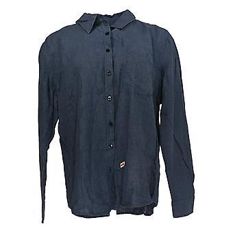 Denim & Co. Women's Top Linen Blend Button Front Long Sleeve Blue A307958