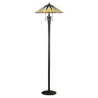 2 Light Floor Lamp Black, Tiffany Style Glass, E27