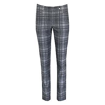 ROBELL Robell Grey Check Trouser Bella 52564 54935 95