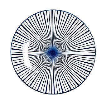 Nicola Spring Stripe Patterned Side Plate - Small Porcelain Dining Dish - Navy Blue - 19cm