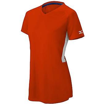 Mizuno Dames Comp Korte Mouw V-Neck Shirt Oranje / Wit 2XL