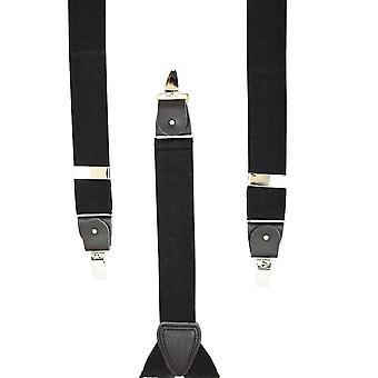 Legături Planet Plain Black Menăs Trouser Braces - Clipuri de argint