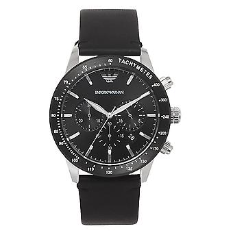 Orologio Armani Ar11243 Black Leather & Silver Inox Steel Men's
