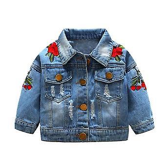Ytterkläder Jeans Coat Rippade, Bebes broderi, Denim Jackor För Spädbarn Baby /