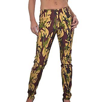 Mujeres's camuflaje impresión pantalones de cintura baja Camo Tan Brown 6-16