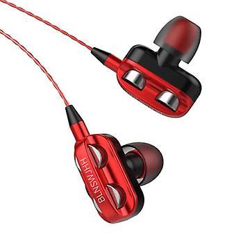 Bluelans Dual Driver Earphones AUX 3.5mm - Earphones Wired Earphones Earphone Red