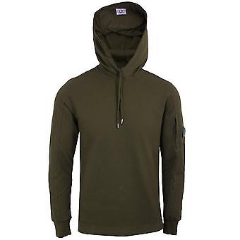 C.p. company men's dark olive light fleece hooded sweatshirt