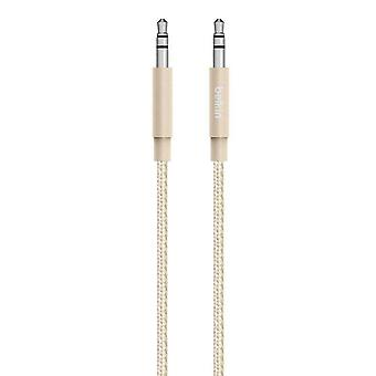 Belkin Premium 1.2 m Braided Tangle Free Aux Cable Aluminuim Connectors - Gold