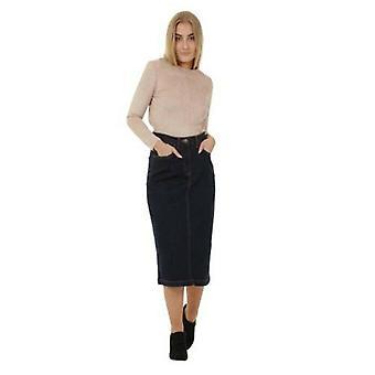 Calf-length denim skirt