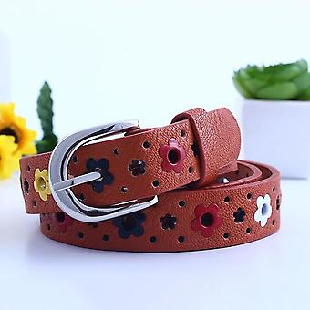 Flower Belt voor, Hollow Out Cute Waist Pin Buckle, Casual Kids Lederen Riemen