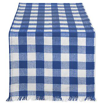Dii Navy Heavyweight Check Fringed Table Runner