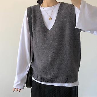 Solid Outerwear V-neck Knitted Tank Tops Women Sleeveless Knitted Sweater Vest