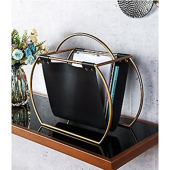 Free Standing Metal Creative Design Round Leather Magazine Rack/desktop Folder