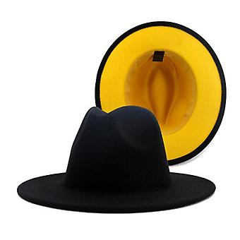 Hommes/femmes Patchwork Wool Felt Floppy Jazz Fedora Party Formal Hat