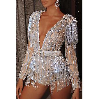 Long Sleeve Deep V Neck Sequin Tassel Romper