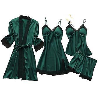 المرأة ثوب روب مجموعات الدانتيل حمام الحمام ليلة اللباس ملابس النوم الإناث فو