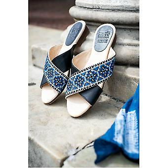 Tatreez Cross Sandal - Sapphire Blue