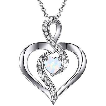 Infinity Necklace, Rose Gold Love Heart Opal Pendant Jewellery  for Girls