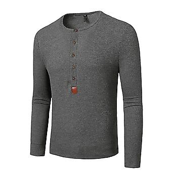 YANGFAN Mens Long Sleeve T-Shirt Round Neck Button Top