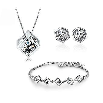 5 Style S925 Stamp Silver Color Necklace/earrings/bracelet Jewelry Set
