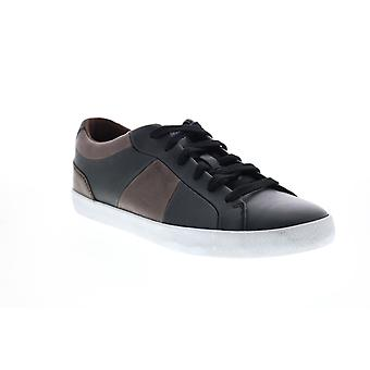 Geox U Smart  Mens Black Leather Lace Up Euro Sneakers Shoes