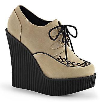 Demonia Women's Shoes CREEPER-302 Cream Vegan Suede