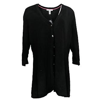 Isaac Mizrahi Live! Curved Hem Button Front Cardigan Black A354771
