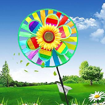 Double Layer Sequin Sunflower Windmill Wind Spinner