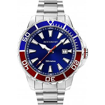 Accurist 7327 Signature Divers Style Silver & Blue Stainless Steel Mens Watch