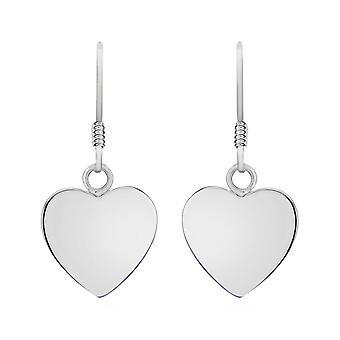 Silver Heart Drop Dangle Earrings for Women Shinny Sterling Stamped Jewellery