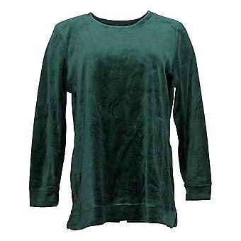 Denim & Co. Women&s Sweter Petite Velour Tunika z kieszeniami Green A390300