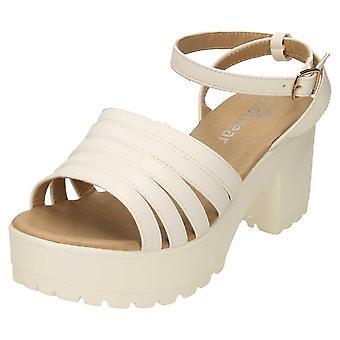 Koi Footwear Chunky Platform Sandals Strappy Peep Toe Mid Heel