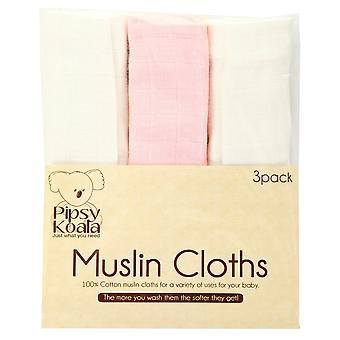 Pipsy Koala Muslin Cloths 3 Pack White Pink