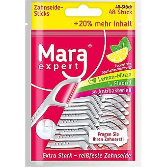 Zahnseide Sticks von   48x Reinigung Zahnzwischenume  FLUORID, CHLORHEXIDINE BESCHICHTUNG - LEMON