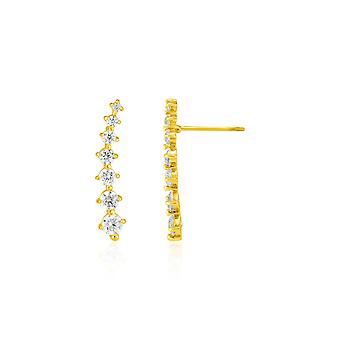 14k  Climber Post Earrings with Cubic Zirconias