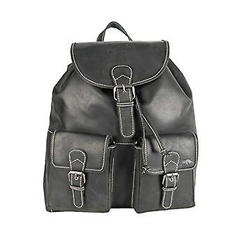 Arrigo Rucksack, Buffalo Leather Backpack. Unisex-Adult, Black, 37 x 39 x 12 cm
