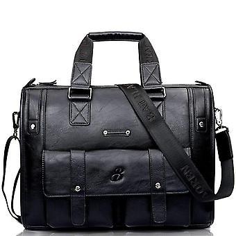 الجلود السوداء حقيبة يد رجال الأعمال حقائب رسول