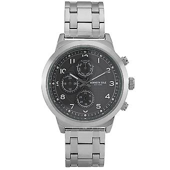 Kenneth Cole Kc50884006 Modern Dress Sport Grey & Silver Stainless Steel Chronograph Mens Watch