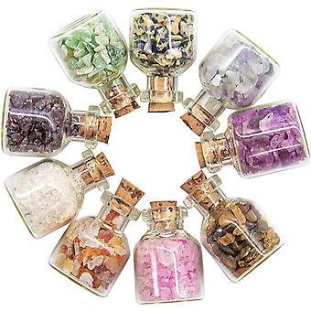 FengChun 9 Stück Mini Glas Wunsch Flaschen, Heilung Reiki Edelstein Chip Stein Set, für DIY-Schmuck,