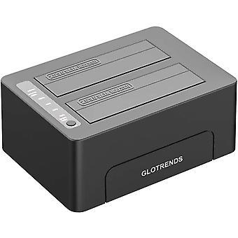 2-Schacht Festplattenradiergummi, 2,5/3,5 Zoll SATA SSD/HDD, USB 3.0, Festplatte sicher löschen,