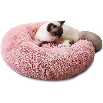 Hundebett Katzebett Rund Plüsch Weich Bett für Haustier Donut Hundekissen Hundesofa Dunchmesser