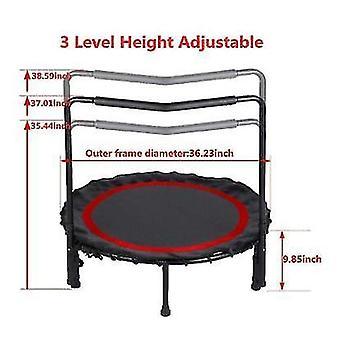 Skládací mini trampolína, fitness trampolína s nastavitelným madlem a bezpečnostní podložkou