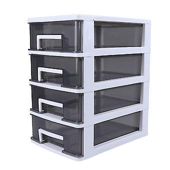 Ménage Armoire de rangement à quatre couches Tiroir en plastique Type Placard portable multifonction Dustproof Storage Rack Organizer Furniture (cadre blanc et tra